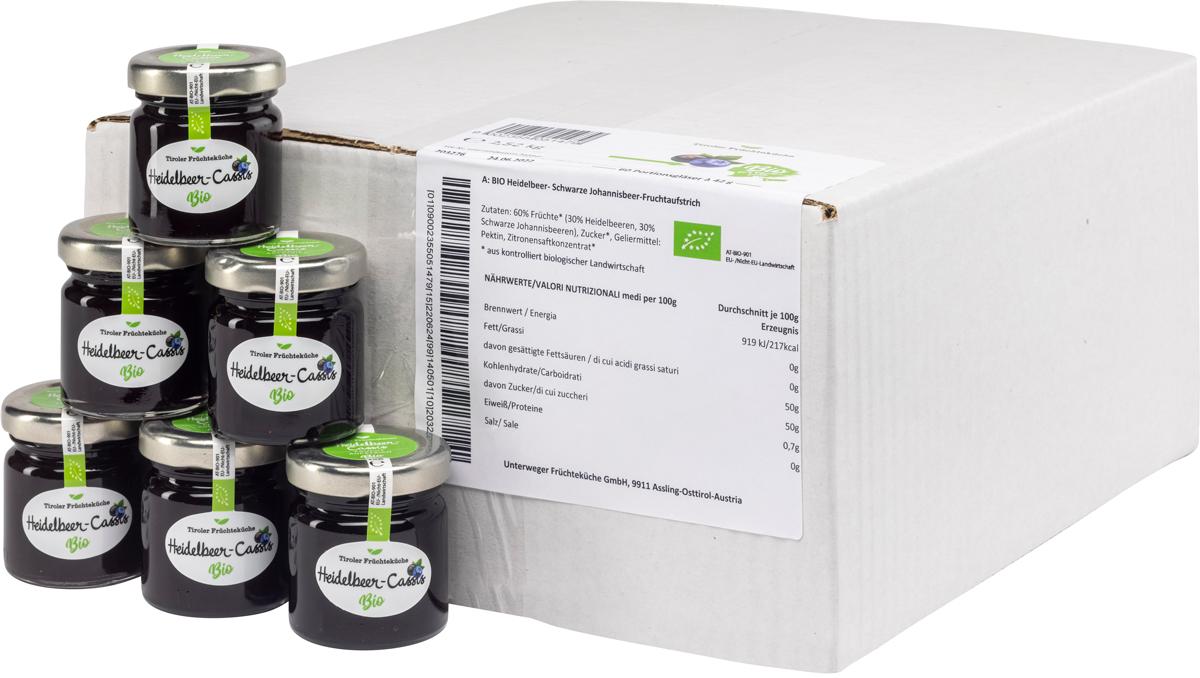 Bio Heidelbeer-Cassis Fruchtaufstrich im Portionsglas - Karton zu 60 Stk