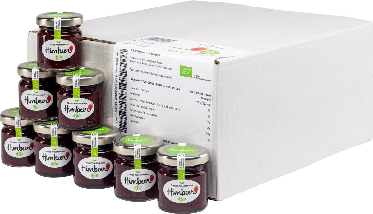 Bio Himbeer  Fruchtaufstrich im Portionsglas - Karton zu 60 Stk