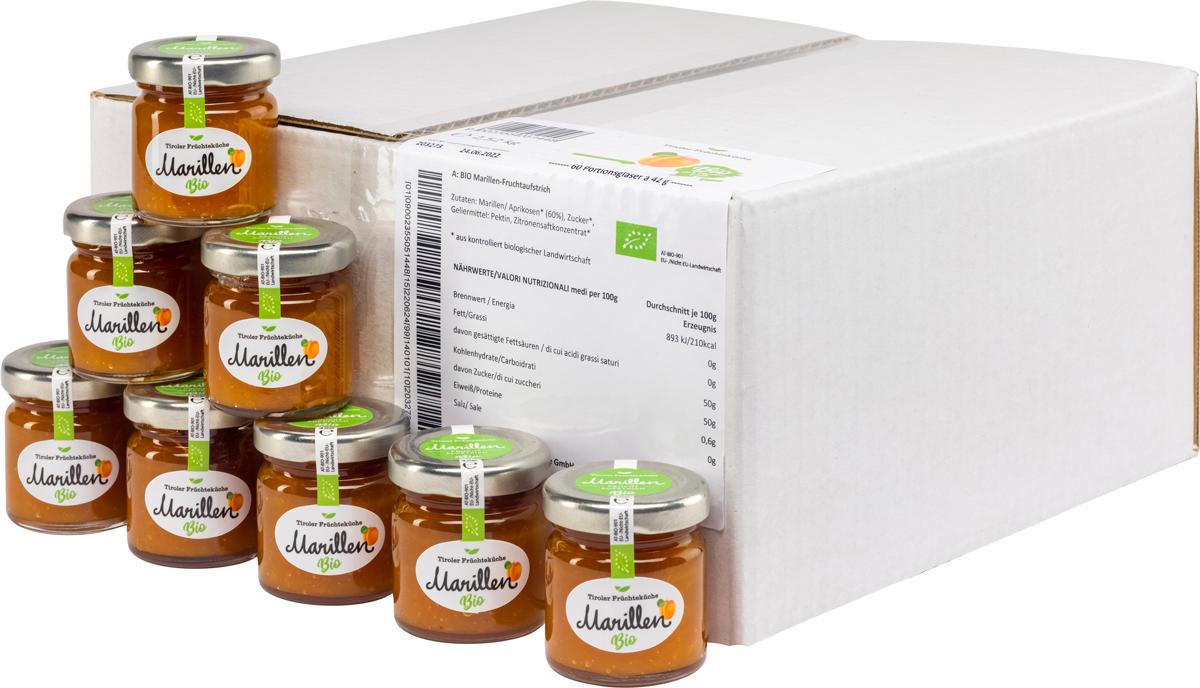 Bio Marille Fruchtaufstrich im Portionsglas - Karton zu 60 Stk