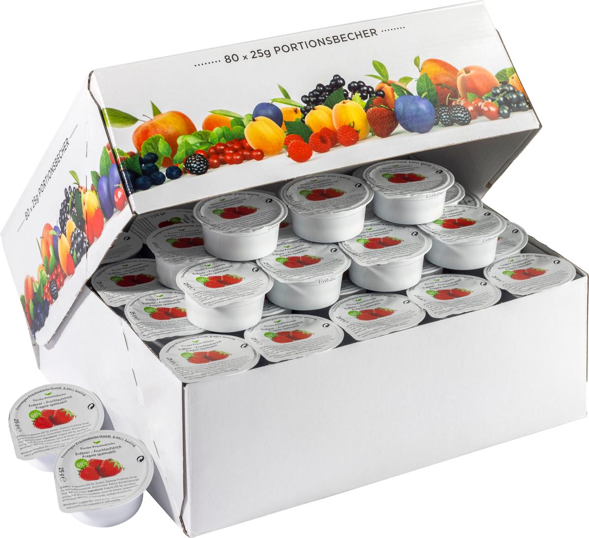 Erdbeer Fruchtaufstrich im Portionsbecher - Karton zu 80 Stk
