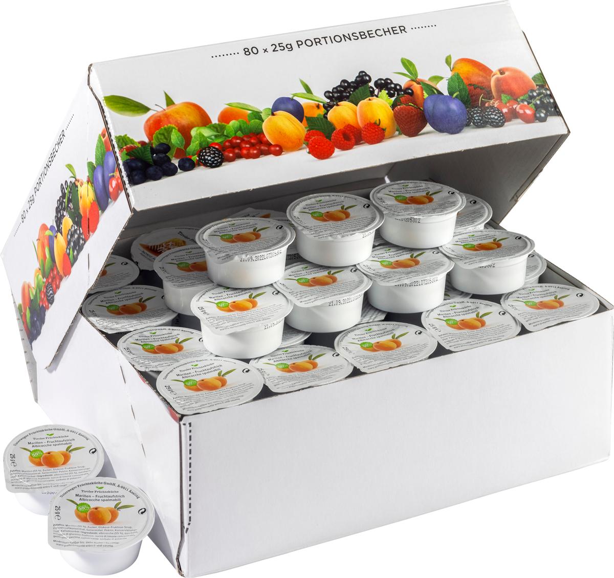 Marille Fruchtaufstrich im Portionsbecher - Karton zu 80 Stk
