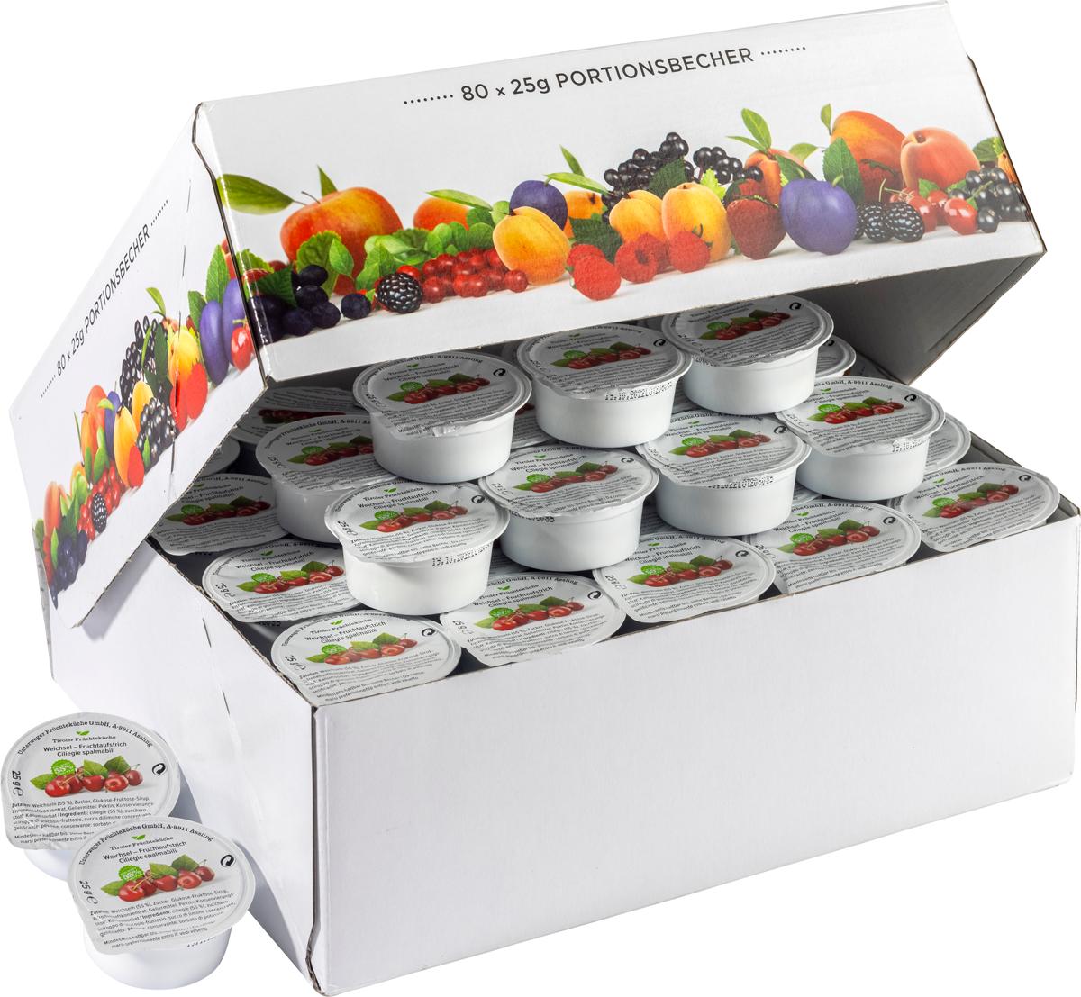 Weichsel Fruchtaufstrich im Portionsbecher - Karton zu 80 Stk